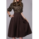 Fashion Chic Womens Floral Print Half Sleeves High Waist Black Pleated Combo Dress for Cocktail