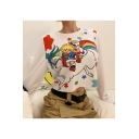 Cartoon Star Unicorn Printed Round Neck Long Sleeve White Cropped Sweatshirt