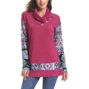 Womens Chic Button Cowl Neck Tribal Print Long Sleeve Loose Tee Sweatshirt