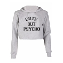 Trendy Letter CUTE BUT PSYCHO Print Long Sleeve Cropped Hoodie