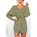 Women Hot Stylish Plunge V Neck Long Sleeves Tie Waist Plain Knitting Warm Mini Dress