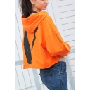 Womens Fashion Cool Letter Logo V Back Long Sleeve Loose Fit Crop Hoodie