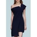 Summer Hot Popular Plain One Shoulder One Cap Sleeve Asymmetric Hem Midi Dress for Wedding