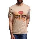 Creative Painted Eyes Print Summer Short Sleeve Khaki T-Shirt