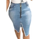 Hot Sale Fashion Plain Washed Zip-Front Split Fringe Hem Slim Fitted Mini Denim Skirt