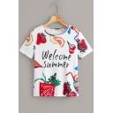 Girls Letter WELCOME SUMMER Fruit Graffiti Round Neck Short Sleeve T-Shirt