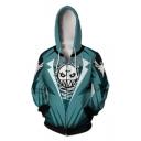 Popular Game Green Skull Printed Long Sleeve Zip Up Cosplay Hoodie