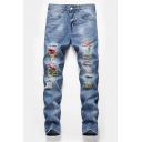Men's Popular Fashion Colored Paint Point Printed Light Blue Ripped Jeans