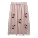 Sweet Womens Pink Elastic Waist Floral Sequin Embellished Midi Mesh Skirt