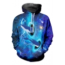 Blue Galaxy Whale 3D Printed Long Sleeve Loose Fitted Drawstring Hoodie