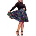 Womens Classic Stylish Neon Print Layer Mesh High Waist Midi Skirt