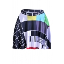 Womens Hot Stylish Geometric Collection Print Colorblock Elastic Waist Mini Skater Skirt
