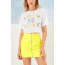 Summer Colorful Letter LOVE IS LOVE Printed Round Neck Short Sleeve White Crop Tee