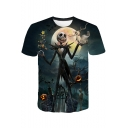 Halloween Jack Skellington 3D Pumpkin Print Short Sleeve Blue T-Shirt