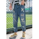 Guys Hot Fashion Popular Cool Distressed Stylish Blue Regular Fit Ripped Jeans