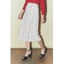 Hot Stylish Cherry Print Button Down Self-Tie Straight Midi Summer Skirt
