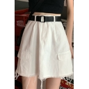Hot Popular Womens Vintage High Waist Fringe Hem Pocket A-Line Mini Cargo Skirt