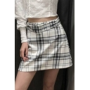 Hot Fashion Check Print Belt Waist A-Line Mini Spring Skirt for Women