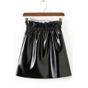 Summer Hot Fashion Black Paperbag Waist A-Line Mini PU Skirt for Cool Women