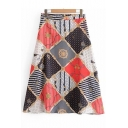 Summer High Waist Chain Print Zip-Back Flare Midi A-Line Skirt