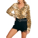 Hot Fashion Womens Brown V Neck Tiger Print Button Front Lapel Collar Long Sleeve Shirts