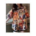 Summer Hot Stylish Chic Cartoon Print Button Down Short Sleeve Oversize Leisure Shirts