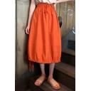 Summer Hot Stylish Plain High Waist Drawstring Hem Midi Skirt
