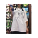 Summer Hot Stylish White Round Neck Short Sleeve Cartoon Printed Casual Loose Chic Blouse T-Shirts