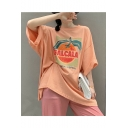 Stylish Womens Galcala Fruit Printed Drop Sleeve Active Chic Loose Blouse T-Shirts