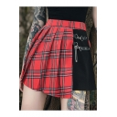 Trendy Women Sweet Red Check High Waist Metallic Embellished Patchwork Pleated A-Line Mini Skirt
