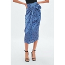 Summer New Arrival Polka Dot Self-Tie Midi Holiday Skirt for Women