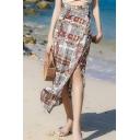 Summer Hot Stylish Chain Print Split Straight Chiffon Wrap Midi Holiday Skirt