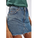 Summer Hot Stylish Plain High Waist Fringe Hem A-Line Mini Denim Skirt