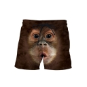 Hot Popular Funny Gorilla Face Printed Drawstring Waist Khaki Shorts