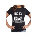 Summer Hot Trendy Letter SLEEP Pattern Round Neck Short Sleeve Loose Tee