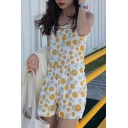 Summer Hot Trendy Active Polka Dot Printed Straps Sleeveless Sweet Holiday Rompers