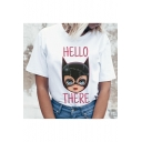 Funny Cartoon Letter HELLO THERE Print Round Neck Short Sleeve White Tee