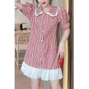 Summer Hot Popular Red Chic Check Printed Puff Sleeve Button Front Pleated Hem Midi Shift Dress