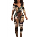 Womens Chic Fashion Long Sleeve Round Neck Cartoon Face Printed Slim Fitted Nightclub Jumpsuits