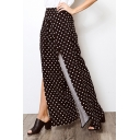 Womens Hot Popular Printed Slit Side Casual Loose Wide Leg Flared Pants