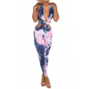 Hot Popular Womens Halter Plunge V Neck Sleeveless Backless Cutout Tie Dye Jumpsuits
