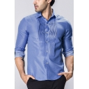 Mens Trendy Pleated Detail Fashion Polka Dot Printed Button Front Slim Fit Business Shirt