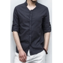 Mens Retro Chinese Style Stand Collar Long Sleeve Plain Fitted Linen Shirt