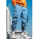Guys Street Trendy Unique Colorblock Plaid Printed Casual Loose Cargo Pants with Side Pockets