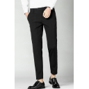 Men's New Fashion Simple Plain Slim Fit Casual Straight Dress Pants