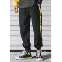 Men's Popular Fashion Colorblock Letter Printed Drawstring Waist Elastic Cuff Casual Loose Outdoor Track Pants