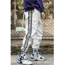 Men's Hip Pop Style Trendy Letter Stripe Side Drawstring Waist Elastic Cuffs Casual Loose Track Pants