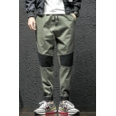 Men's New Trendy Colorblock Patched Drawstring Waist Elastic Cuffs Casual Tapered Pants
