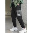 Men's Trendy Simple Plain Black Cotton Casual Drawstring Waist Cargo Pants with Side Flap Pocket