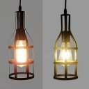 Metal Bottle Cage Ceiling Pendant Balcony Hallway One Light Industrial Hanging Light in Aged Brass/Black